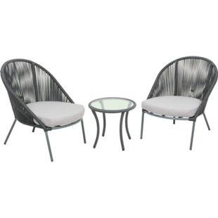 Garten Sitzgruppe 3tlg. + Auflage Essgruppe Gartenset Glas Tisch Sessel Set - Bild 1