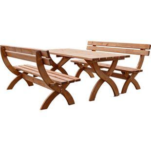 Holz Sitzgruppe Rustikal Biertischgarnitur Kiefer massiv Gastronomie Gartenmöbel - Bild 1