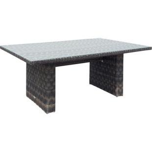 Polyrattan Gartentisch 200x100 Glastisch Esstisch Gartenmöbel Tisch Metall - Bild 1