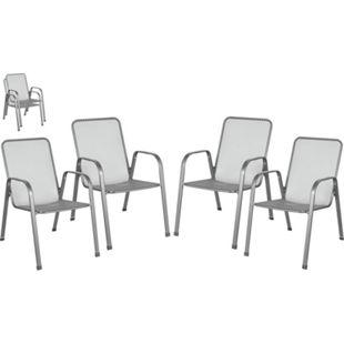 4x Metall Stapelstuhl Gartenstuhl Gartensessel Stuhl Stapelsessel stapelbar Set - Bild 1