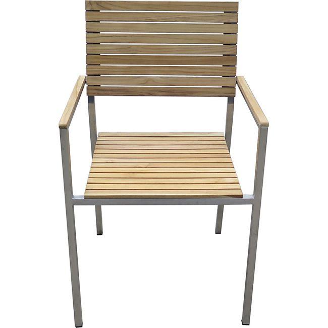 5tlg Teak Tischgruppe Gartenmobel Gartentisch Stuhl Garten Stapelstuhl Tisch Online Kaufen Bei Netto