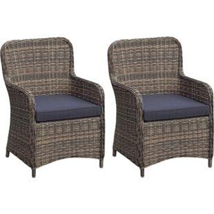 2x Polyrattan Sessel Stuhl Gartenstuhl Rattan Optik Korbsessel Gartensessel - Bild 1
