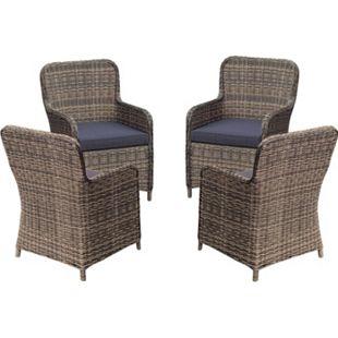 4x Polyrattan Sessel Stuhl Gartenstuhl Rattan Optik Korbsessel Gartensessel - Bild 1