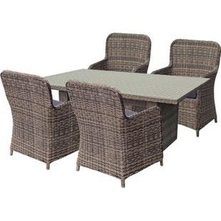5tlg. Tischgruppe Gartenmöbel Gartentisch Stuhl Garten Sessel Gartensessel Tisch - Bild 1