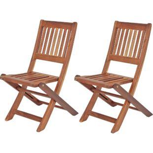 2x Kinder Gartenstuhl Gartenstühle Klappstuhl Klappstühle Holz Eukalyptus - Bild 1