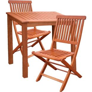 3tlg. Holz Tischgruppe Gartenmöbel Gartentisch Stuhl Garten Hochlehner Tisch - Bild 1