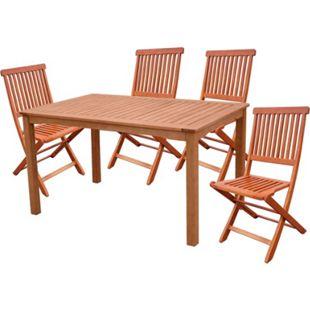 5tlg. Holz Tischgruppe Gartenmöbel Gartentisch Stuhl Garten Hochlehner Tisch - Bild 1