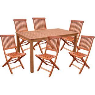 7tlg. Holz Tischgruppe Gartenmöbel Gartentisch Stuhl Garten Hochlehner Tisch - Bild 1