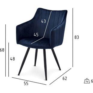 2x Velours Esszimmerstuhl Lizzy blau Stuhl Set Stühle Sessel Küchenstuhl - Bild 1