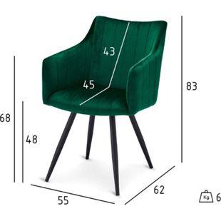 2x Velours Esszimmerstuhl Lizzy grün Stuhl Set Stühle Sessel Küchenstuhl - Bild 1