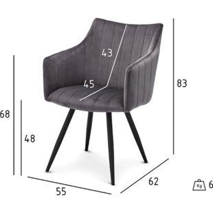 2x Velours Esszimmerstuhl Lizzy grau Stuhl Set Stühle Sessel Küchenstuhl - Bild 1
