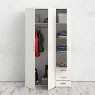 Kleiderschrank Spell Eiche Dekor weiß 3trg Schlafzimmer Schrank Drehtürenschrank - Bild 1