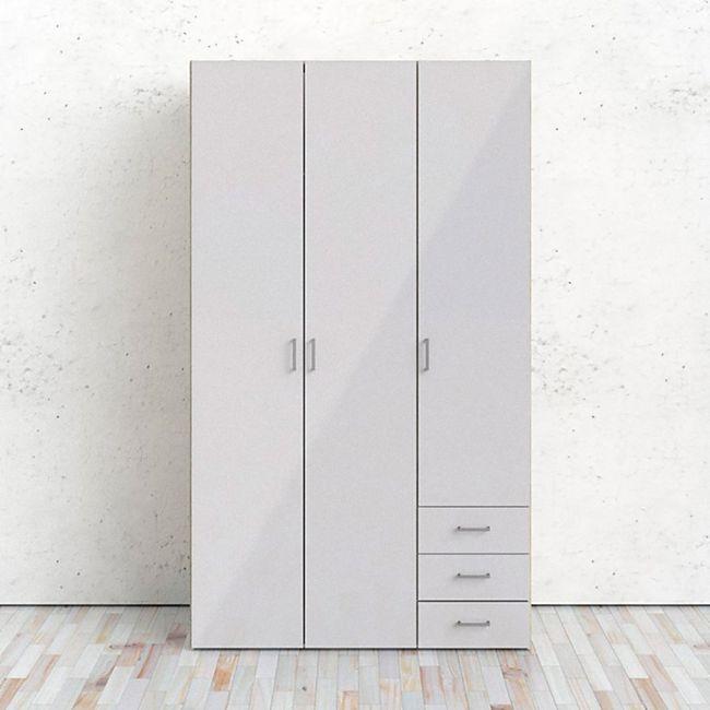 Kleiderschrank Spell Eiche Struktur hochglanz weiß 3 Türen Schlafzimmer Schrank - Bild 1
