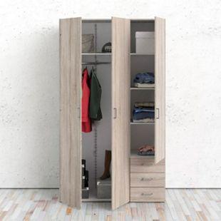 Kleiderschrank Spell trüffelfarben 3 Türen Schlafzimmer Schrank Drehtürenschrank - Bild 1