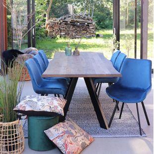 2x Velours Esszimmerstuhl Drew blau Stuhl Set Stühle Sessel Küchenstuhl - Bild 1