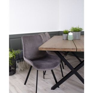 2x Velours Esszimmerstuhl Drew grau Stuhl Set Stühle Sessel Küchenstuhl - Bild 1