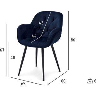 2x Velours Esszimmerstuhl Saturn blau Stuhl Set Stühle Sessel Küchenstuhl - Bild 1