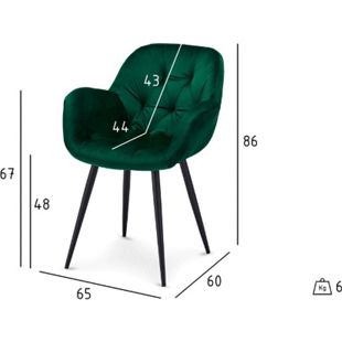 2x Velours Esszimmerstuhl Saturn grün Stuhl Set Stühle Sessel Küchenstuhl - Bild 1