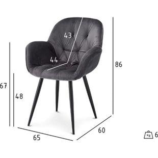 2x Velours Esszimmerstuhl Saturn grau Stuhl Set Stühle Sessel Küchenstuhl - Bild 1