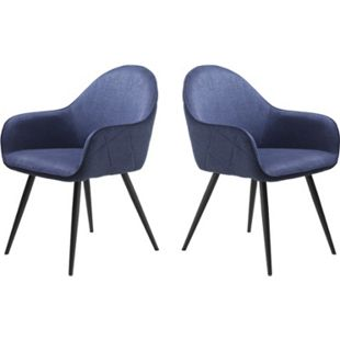 2x Esszimmerstuhl Move blau Stuhl Set Stühle Sessel Küchenstuhl Polsterstuhl - Bild 1