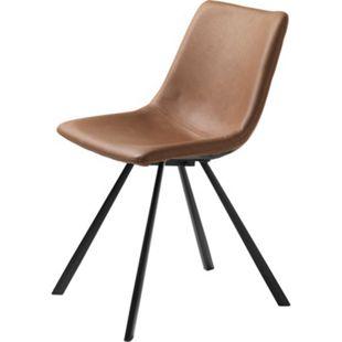 2x Kunstleder Esszimmerstuhl Yukon braun Stuhl Set Stühle Stuhl Küchenstuhl - Bild 1