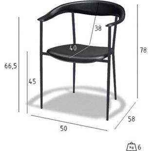 4x Kunstleder Esszimmerstuhl Kammi schwarz Sessel Armlehnenstuhl Stuhl Set - Bild 1