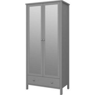 Kleiderschrank Trone grau 2 Türen Spiegel Schrank Schlafzimmer Drehtürenschrank - Bild 1