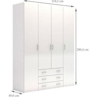 Kleiderschrank Spell weiß hochglanz 4 trg Schlafzimmer Schrank Drehtürenschrank - Bild 1