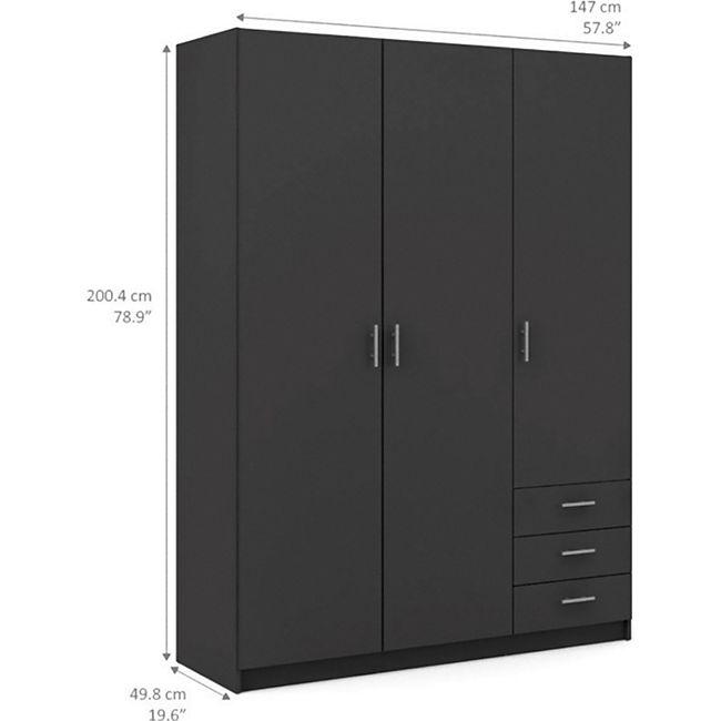 Kleiderschrank Spawn grau 3 Türen Schlafzimmer Schrank Drehtürenschrank - Bild 1