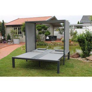 Leco Sonnenbett Anni Sonnenliege Liege Gartenliege Doppelliege Relax Lounge grau - Bild 1