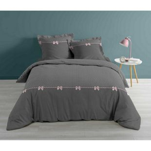 3tlg. Bettwäsche 260x240 Baumwolle Übergröße Bettgarnitur Romantik Punkte grau - Bild 1