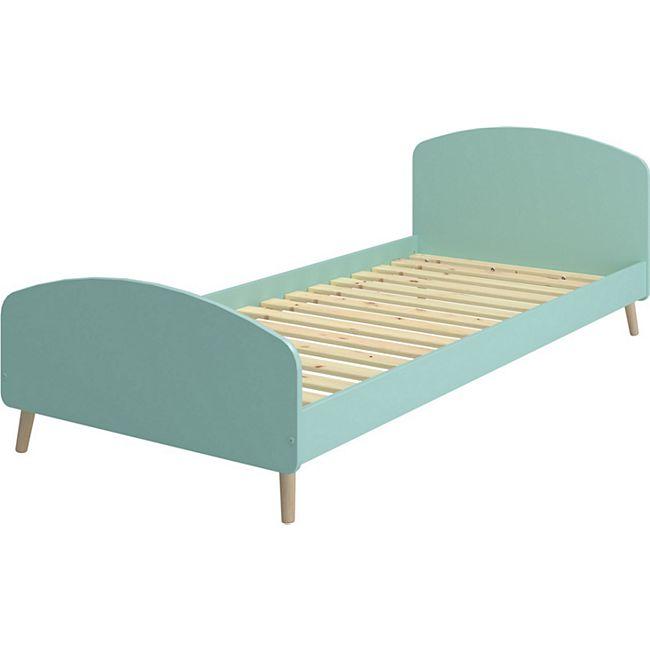 Gry Landhaus Bett 90x200 cm mint Einzelbett Jugendbett Kiefer Holz Gästebett - Bild 1