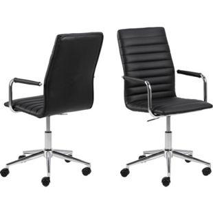 Wips Leder Bürostuhl schwarz Computerstuhl Chefsessel Schreibtischstuhl Sessel - Bild 1