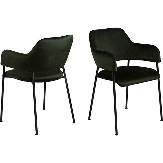 2x Lisa Esszimmerstuhl Armlehne grün Stuhl Set Esszimmer Stühle Küchenstuhl - Bild 1