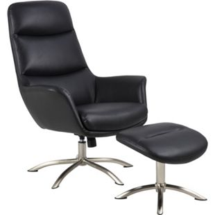 Dalle Sessel mit Hocker schwarz Fernsehsessel Relaxsessel Liegesessel Liegestuhl - Bild 1