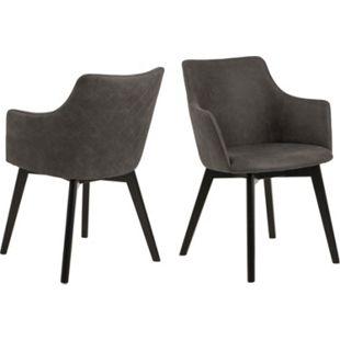 2x Bea Esszimmerstuhl Armlehne grau Stuhl Set Esszimmer Stühle Möbel Küchenstuhl - Bild 1