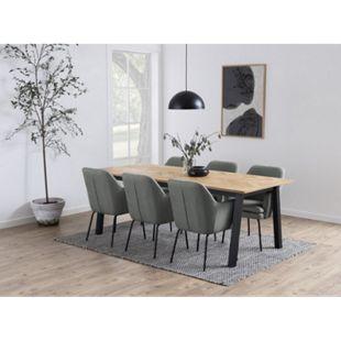 Chark Kunstleder Esszimmerstuhl grau Stuhl Sessel Esszimmer Möbel Wohnzimmer - Bild 1