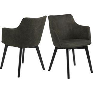 2x Bea Esszimmerstuhl Armlehne grün Stuhl Set Esszimmer Stühle Möbel Küchenstuhl - Bild 1