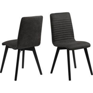 2x Aron Esszimmerstuhl stapelbar grau Set Stuhl Küchenstuhl Polsterstuhl Stühle - Bild 1