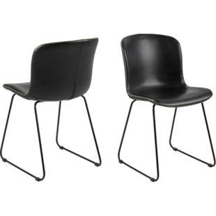 2x Stone Kunstleder Esszimmerstuhl schwarz Stuhl Sessel Esszimmer Wohnzimmer - Bild 1