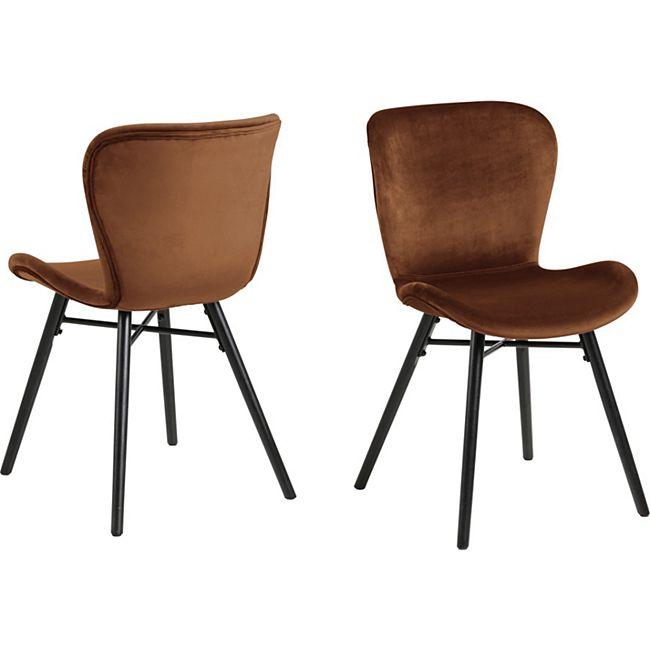2x Bali Esszimmerstuhl orange Stuhl Set Esszimmer Stühle Möbel Küchenstuhl Küche - Bild 1