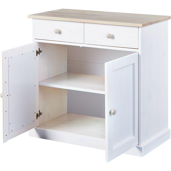 Flake Sideboard 2 Türen 2 Schubladen weiss Kommode Schrank Wohnzimmer Board - Bild 1