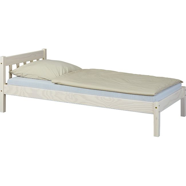 Vicki Landhaus Bett 90x200 cm weiss Kiefer Holz Einzelbett Gästebett Teenager - Bild 1