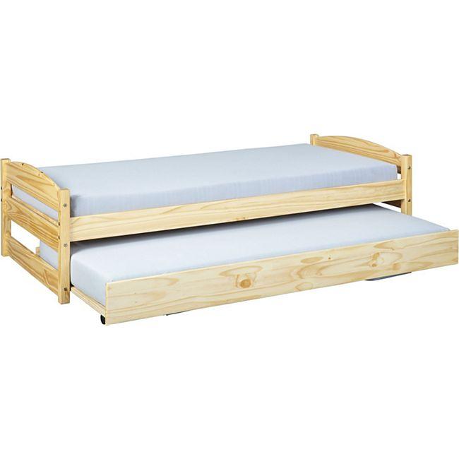 Vicki Landhaus Bett 90x200 cm natur Kiefer Holz Doppelbett Gästebett Jugendbett - Bild 1