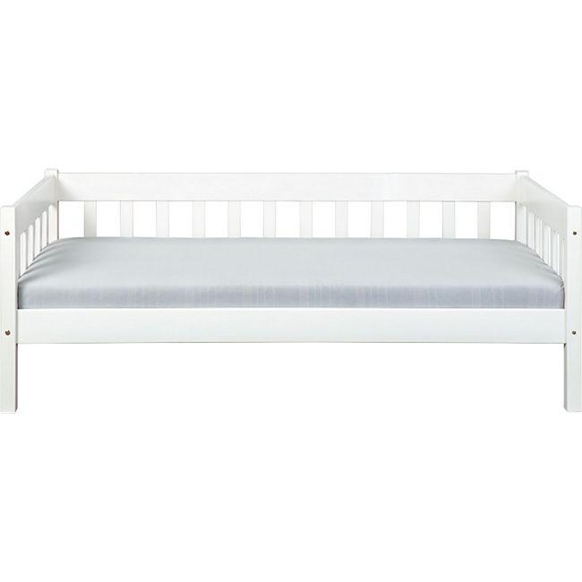 Sina Landhaus Bett 90x200 cm weiss Einzelbett Jugendbett Kiefer Holz Gästebett - Bild 1