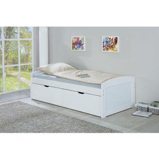 Eira Landhaus Bett 90x200 cm weiss Schubladen Jugendbett Kiefer Holz Gästebett - Bild 1
