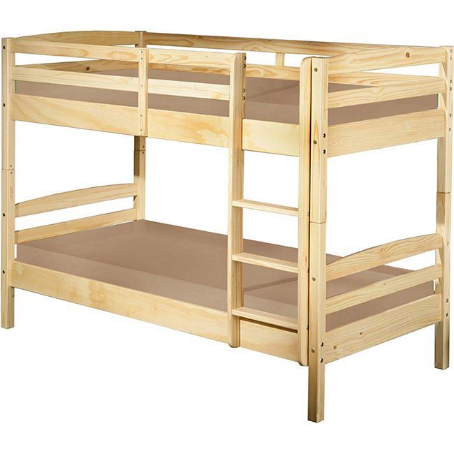 Licki Landhaus 90x200 Etagenbett Kiefer natur Doppelstockbett Kinderbett Bett - Bild 1