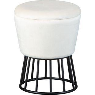 Iris Fusshocker Hocker mit Aufbewahrung elfenbein Sitzhocker Aufbewahrungsbox - Bild 1