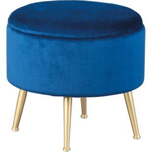 Willis Fusshocker Hocker Aufbewahrung blau gold Sitzhocker Aufbewahrungsbox - Bild 1
