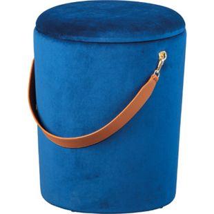 Pampurs Fusshocker Hocker Aufbewahrung blau braun Sitzhocker Aufbewahrungsbox - Bild 1